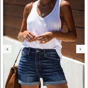 Vici 24/7 high rise cuffed denim shorts
